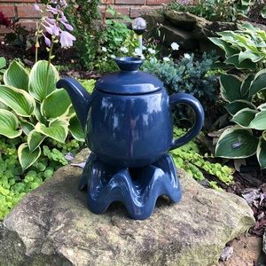Vintage Frankoma Tea Pot and Warmer Navy Blue